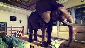 Elefante na rendição da sala de visitas 3d Imagem de Stock