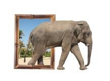 Elefante nel telaio di bambù con effetto 3d Fotografie Stock Libere da Diritti