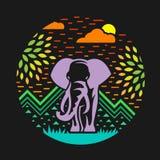 Elefante nella progettazione di vettore di stile del cerchio dell'estratto della foresta illustrazione di stock