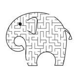 Elefante nero del fumetto del labirinto Scherza i fogli di lavoro Pagina di attività Puzzle del gioco per i bambini Animale selva illustrazione di stock