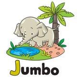 Elefante ou jumbo engraçado pequeno Alfabeto J Fotos de Stock