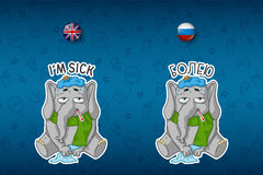 Elefante paciente com um termômetro, temperatura Grupo grande de etiquetas em línguas inglesas e de russo Vetor, desenhos animado Fotografia de Stock Royalty Free