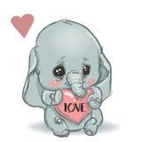 Elefante pequeno bonito dos desenhos animados Fotos de Stock Royalty Free