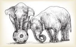 Elefante que juega al fútbol, ejemplo del drenaje de la carta blanca del bosquejo Imagen de archivo libre de regalías