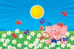 Elefante rosado stock de ilustración