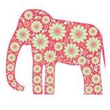Elefante rosado decorativo con los estampados de flores Fotografía de archivo libre de regalías