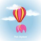 Elefante rosado en el aire Imagenes de archivo
