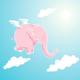 Elefante rosado que vuela Foto de archivo