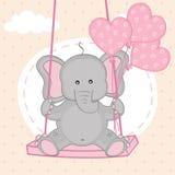Elefante su oscillazione con i palloni illustrazione di stock