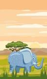 Elefante sui precedenti del paesaggio africano, savanna Immagine Stock