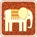 Elefante sul backgroung dell'ornamento illustrazione di stock