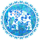 Elefante sul fondo dell'acquerello, immagine Fotografia Stock Libera da Diritti