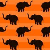 Elefante sull'illustrazione senza cuciture del modello del fondo arancio Fotografie Stock Libere da Diritti