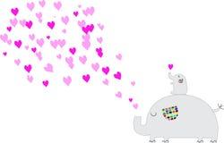Elefante sveglio che soffia innamorato rosa Immagini Stock