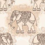 Elefante tribal a mano hermoso del estilo DES inconsútil del modelo libre illustration