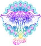Elefante tribal a mano hermoso del estilo sobre mandala Colorfu ilustración del vector