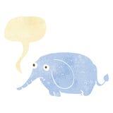 elefante triste de la historieta pequeño con la burbuja del discurso Foto de archivo libre de regalías