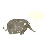 elefante triste de la historieta pequeño con la burbuja del discurso Imagen de archivo libre de regalías