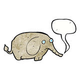 elefante triste de la historieta pequeño con la burbuja del discurso Fotos de archivo