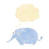 elefante triste de la historieta pequeño con la burbuja del pensamiento Imagen de archivo libre de regalías
