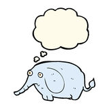 elefante triste de la historieta pequeño con la burbuja del pensamiento Fotografía de archivo