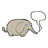elefante triste de la historieta pequeño con la burbuja del discurso Imagen de archivo