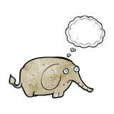 elefante triste del fumetto piccolo con la bolla di pensiero Immagine Stock Libera da Diritti