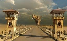 Elefante in una via orientale Fotografia Stock