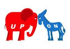 Elefante vermelho e símbolos azuis do asno de partidos políticos em Ame Foto de Stock Royalty Free
