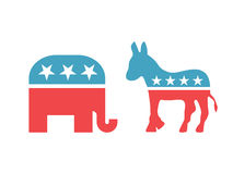 Elefante y burro en colores nacionales americanos Muestras aisladas del partido Democratic y del Partido Republicano de Estados U Foto de archivo