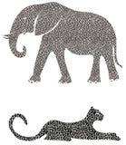 Elefante y guepardo Foto de archivo libre de regalías
