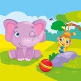 Elefante y mono lindos ilustración del vector