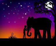 Elefante y muchacho Fotografía de archivo