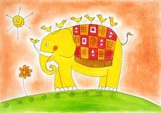 Elefante y pájaros felices, el dibujo del niño, pintura de la acuarela Imagen de archivo libre de regalías