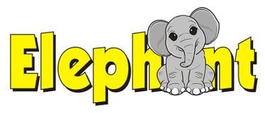 Elefante y palabra amarilla Foto de archivo