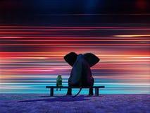 Elefante y perro que se sientan en un borde de la carretera Fotografía de archivo