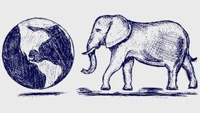 Elefante y planeta stock de ilustración
