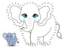 Elefanten förbinder prickarna och färgar vektor illustrationer