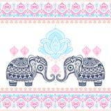 Elefanten för grafisk lotusblomma för vektorn för tappning klappar den sömlösa etniska indisk Royaltyfri Fotografi