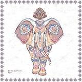 Elefanten för grafisk lotusblomma för vektorn för tappning klappar den sömlösa etniska indisk Royaltyfri Bild