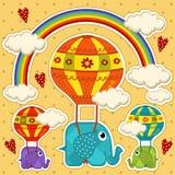 Elefanten i en ballong behandla som ett barn kortet Royaltyfri Bild