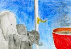 Elefanten und ein Cup Stockfotos