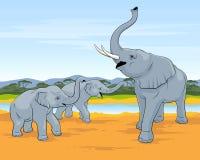 elefanter tre Familjen av elefanter går i savann Stor elefant med två lilla elefanter royaltyfri illustrationer