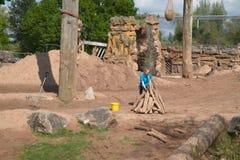 Elefantes cerco, jardim zoológico de Chester em Chester, Reino Unido fotografia de stock royalty free