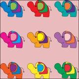 Elefantes coloridos bonitos Fotos de Stock