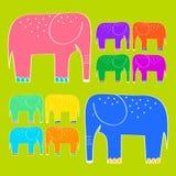Elefantes coloridos de la historieta Ilustración del vector Imagenes de archivo