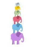 Elefantes da cor da pirâmide Animais bonitos coloridos da selva Grande Imagens de Stock