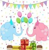 Elefantes de la fiesta de cumpleaños fijados Imagen de archivo libre de regalías