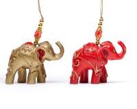 Elefantes de la Navidad en blanco Fotografía de archivo