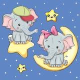 Elefantes de los amantes en una luna y una estrella stock de ilustración